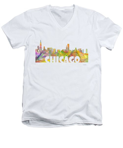 Chicago Illinois Skyline Men's V-Neck T-Shirt by Marlene Watson