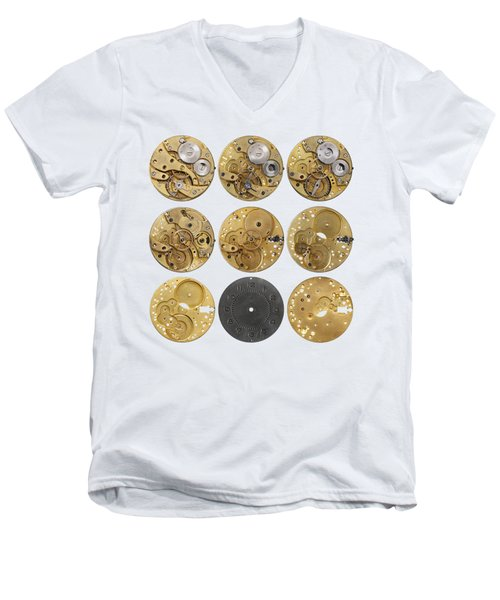 Clockwork Mechanism Men's V-Neck T-Shirt by Michal Boubin