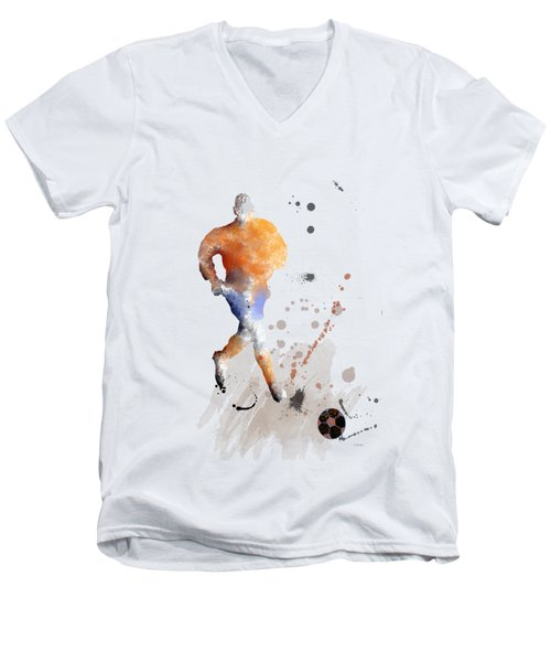 Football Player Men's V-Neck T-Shirt by Marlene Watson