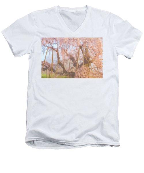 Men's V-Neck T-Shirt featuring the photograph Miharu Takizakura Weeping Cherry07 by Tatsuya Atarashi