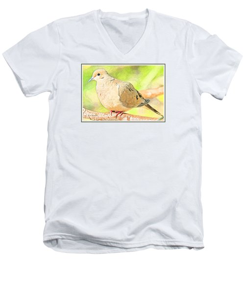 Men's V-Neck T-Shirt featuring the digital art Mourning Dove Animal Portrait by A Gurmankin