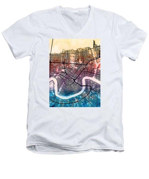 New Orleans Street Map Men's V-Neck T-Shirt by Michael Tompsett