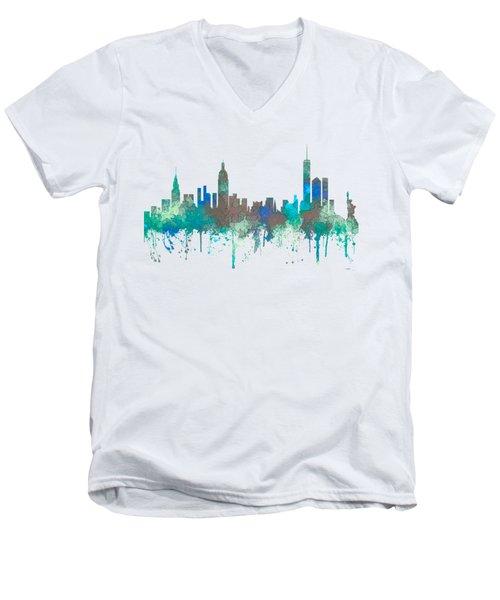 Men's V-Neck T-Shirt featuring the digital art New York Ny Skyline by Marlene Watson