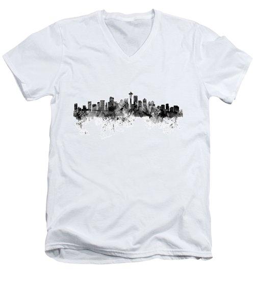 Seattle Washington Skyline Men's V-Neck T-Shirt by Michael Tompsett