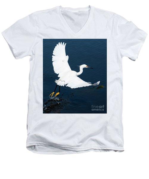 Snowy White Egret Men's V-Neck T-Shirt