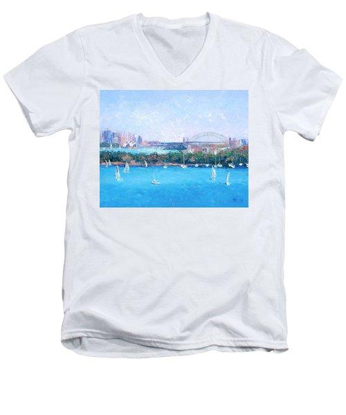 Sydney Harbour And The Opera House By Jan Matson Men's V-Neck T-Shirt