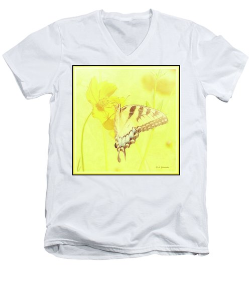 Tiger Swallowtail Butterfly On Cosmos Flower Men's V-Neck T-Shirt