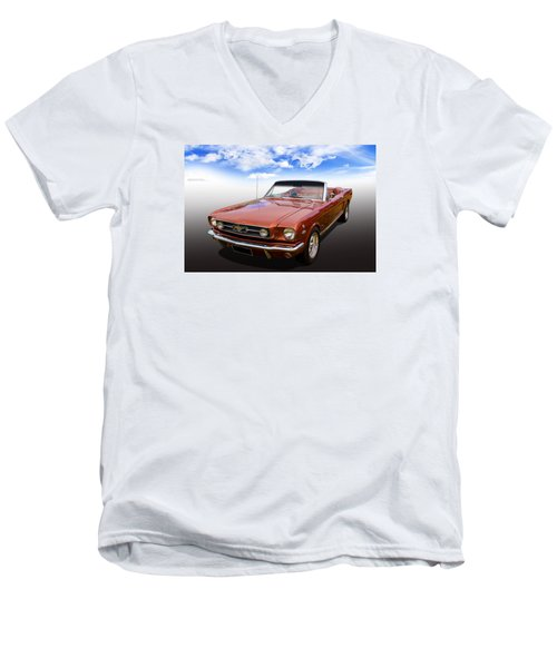 Men's V-Neck T-Shirt featuring the photograph 65 Mustang by Keith Hawley
