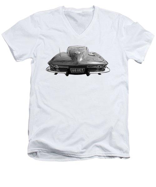 66 Corvette Rear Black And White Men's V-Neck T-Shirt by Gill Billington