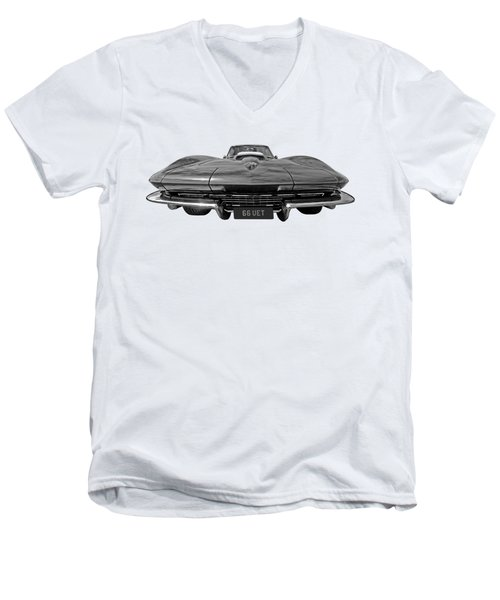 66 Vette Stingray In Black And White Men's V-Neck T-Shirt