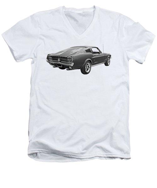 67 Fastback Mustang In Black And White Men's V-Neck T-Shirt by Gill Billington