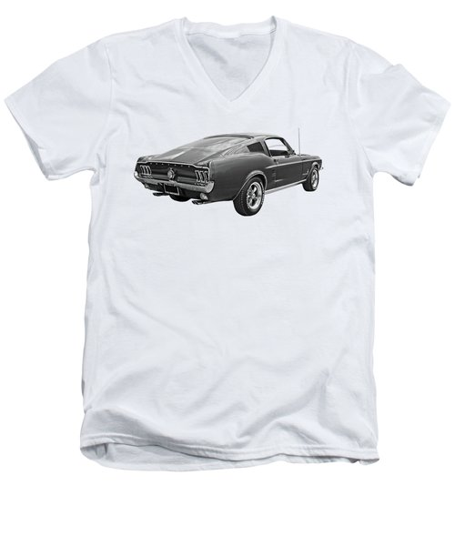 67 Fastback Mustang In Black And White Men's V-Neck T-Shirt