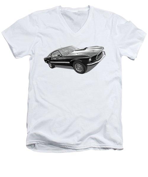 69 Mach1 In Black And White Men's V-Neck T-Shirt