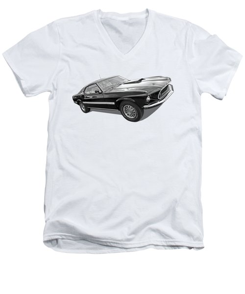 69 Mach1 In Black And White Men's V-Neck T-Shirt