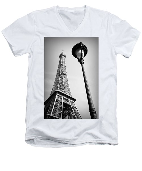 Men's V-Neck T-Shirt featuring the photograph Eiffel Tower by Chevy Fleet