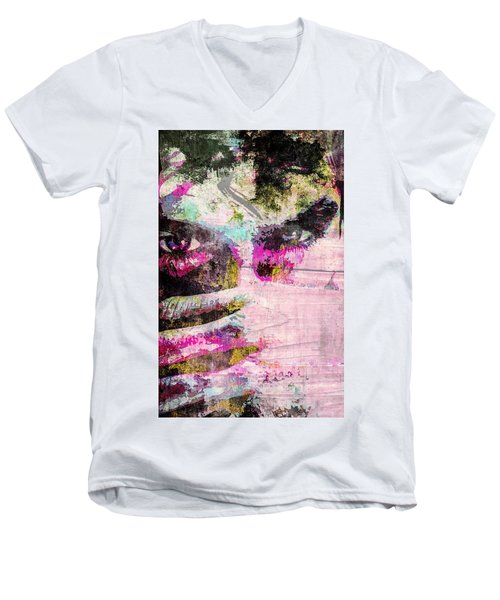 Men's V-Neck T-Shirt featuring the mixed media Ian Somerhalder by Svelby Art