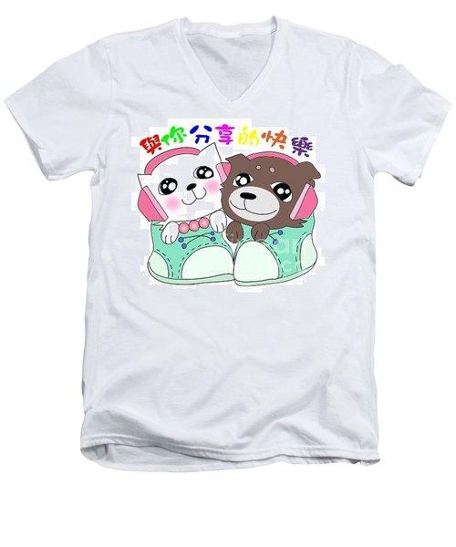 Jummy And Bobby Men's V-Neck T-Shirt