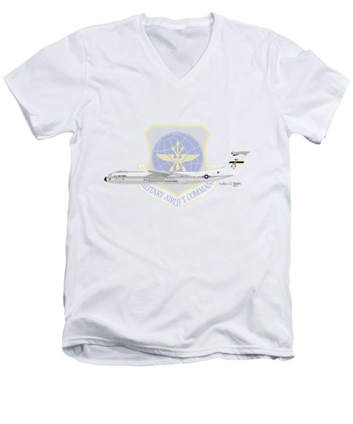 Lockheed C-141a Starlifter Men's V-Neck T-Shirt by Arthur Eggers