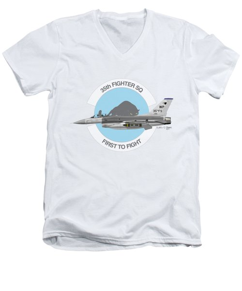 Men's V-Neck T-Shirt featuring the digital art Lockheed Martin F-16c Viper by Arthur Eggers