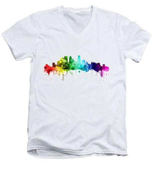 Minneapolis Minnesota Skyline Men's V-Neck T-Shirt by Michael Tompsett