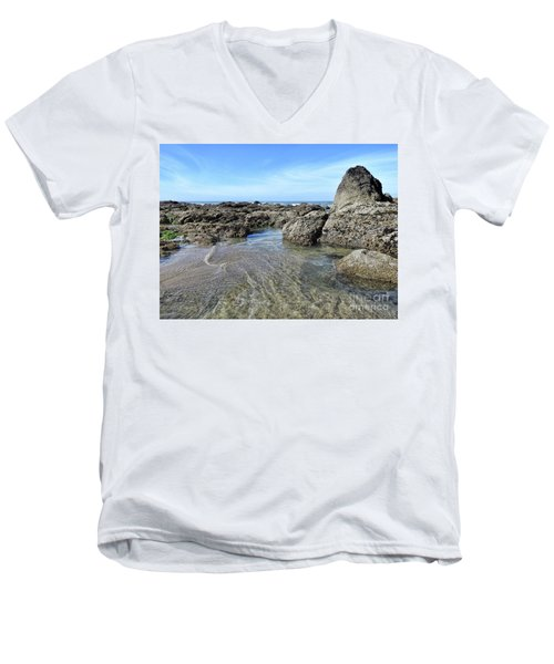 Men's V-Neck T-Shirt featuring the photograph Roads End by Peggy Hughes