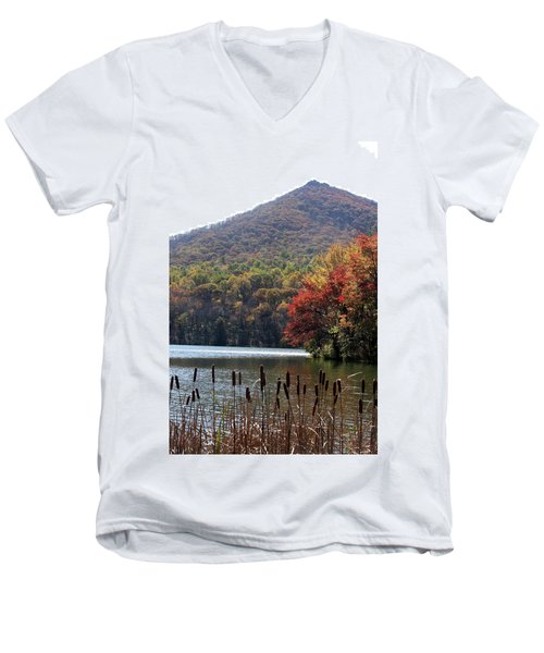 View Of Abbott Lake And Sharp Top In Autumn Men's V-Neck T-Shirt