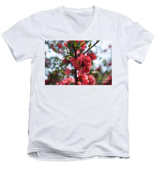 Tree Blossoms Men's V-Neck T-Shirt by Elvira Ladocki