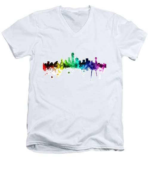 Dallas Texas Skyline Men's V-Neck T-Shirt