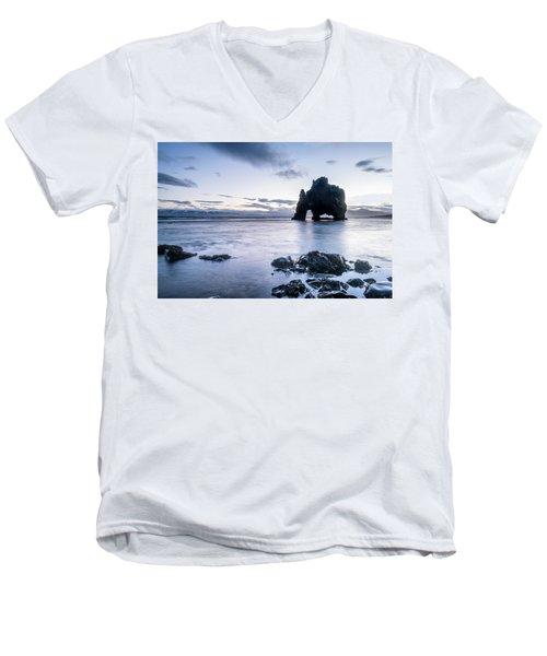 Dinosaur Rock Beach In Iceland Men's V-Neck T-Shirt by Joe Belanger