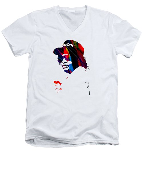 Eazy E Straight Outta Compton Men's V-Neck T-Shirt by Marvin Blaine