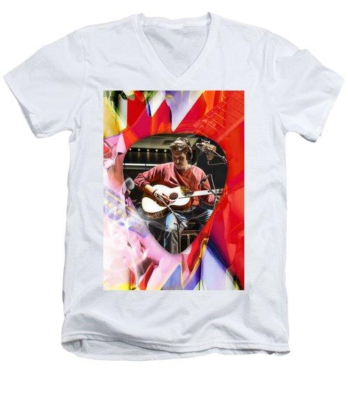 John Mayer Art Men's V-Neck T-Shirt by Marvin Blaine