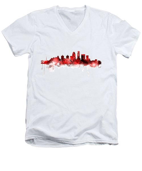 Louisville Kentucky City Skyline Men's V-Neck T-Shirt