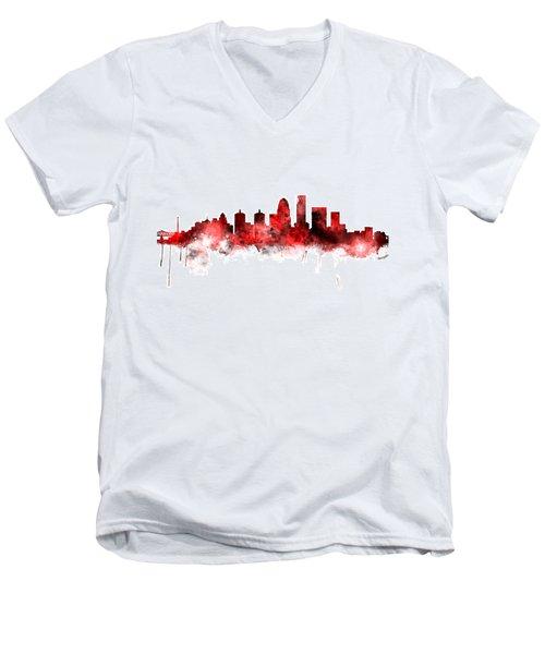 Louisville Kentucky City Skyline Men's V-Neck T-Shirt