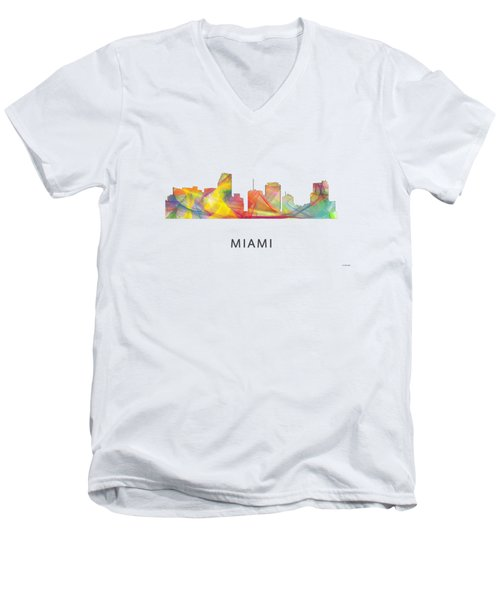 Miami Florida Skyline Men's V-Neck T-Shirt by Marlene Watson
