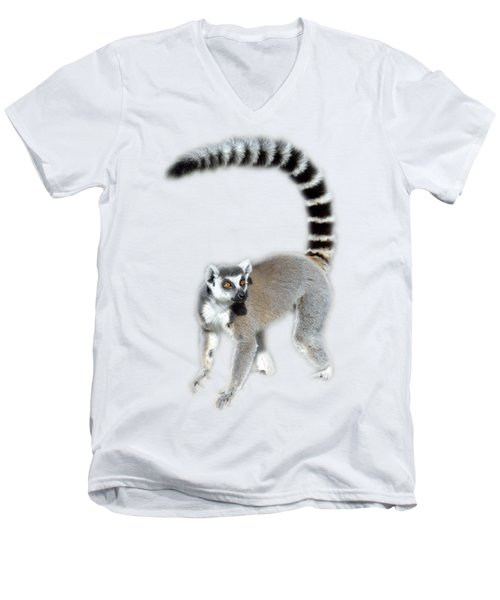 Men's V-Neck T-Shirt featuring the photograph Ring Tailed Lemur by George Atsametakis