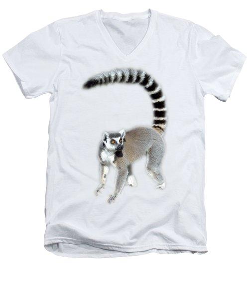 Ring Tailed Lemur Men's V-Neck T-Shirt by George Atsametakis