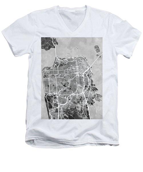 San Francisco City Street Map Men's V-Neck T-Shirt by Michael Tompsett