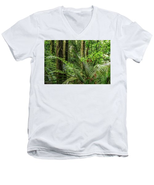 Men's V-Neck T-Shirt featuring the photograph Tropical Jungle by Les Cunliffe