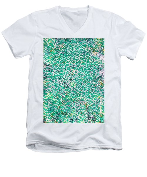 Men's V-Neck T-Shirt featuring the painting 82-offspring While I Was On The Path To Perfection 82 by Parijoy Swami Tapasyananda
