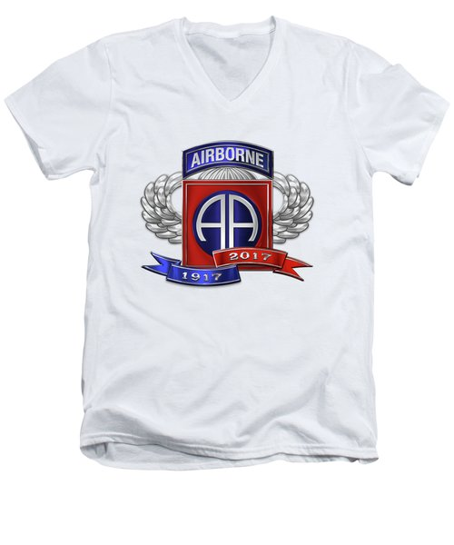 Men's V-Neck T-Shirt featuring the digital art 82nd Airborne Division 100th Anniversary Insignia Over White Leather by Serge Averbukh