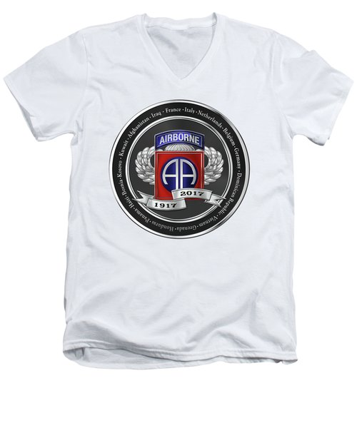 Men's V-Neck T-Shirt featuring the digital art 82nd Airborne Division 100th Anniversary Medallion Over White Leather by Serge Averbukh