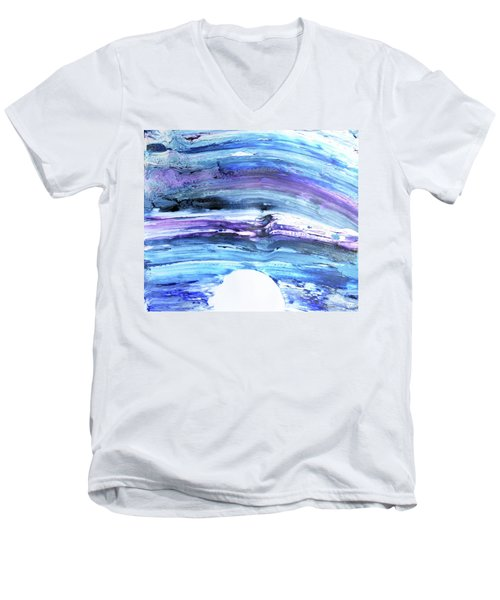 Men's V-Neck T-Shirt featuring the painting 83-offspring While I Was On The Path To Perfection 83 - World's Fastest Realistic Painting by Parijoy Swami Tapasyananda