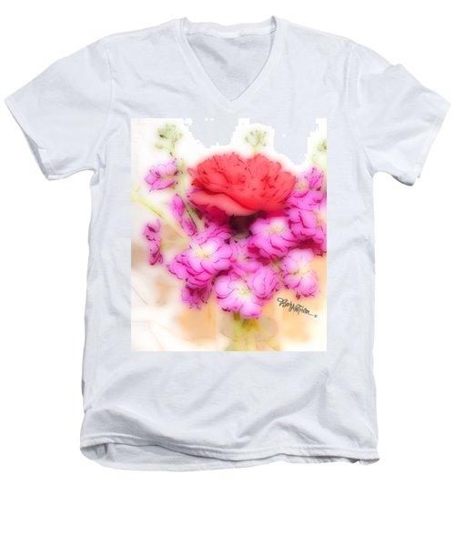 #8742 Soft Flowers Men's V-Neck T-Shirt by Barbara Tristan