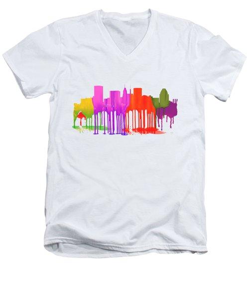 Baltimore Maryland Skyline Men's V-Neck T-Shirt