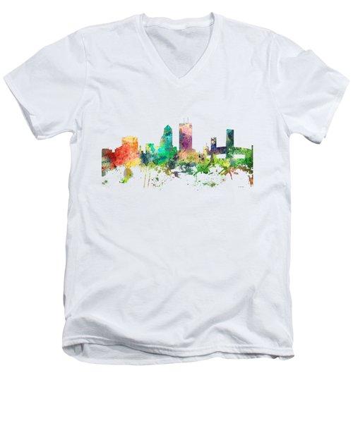 Jacksonville Florida Skyline Men's V-Neck T-Shirt by Marlene Watson