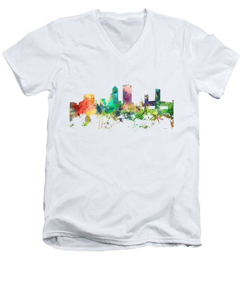 Jacksonville Florida Skyline Men's V-Neck T-Shirt