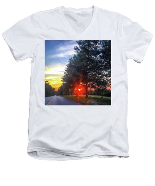 Men's V-Neck T-Shirt featuring the photograph 9 June 16 Rowing Club by Toni Martsoukos