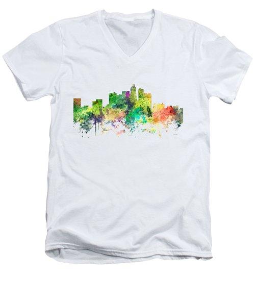 Los Angeles California Skyline Men's V-Neck T-Shirt by Marlene Watson