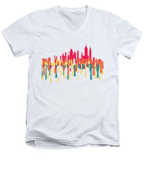 New York New York Skyline Men's V-Neck T-Shirt