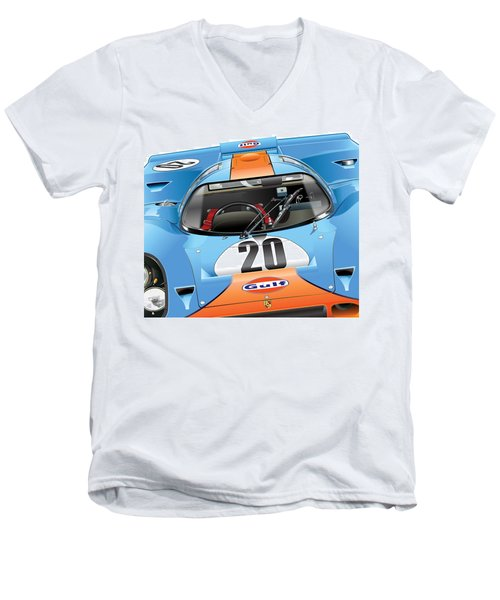 Porsche 917 Illustration Men's V-Neck T-Shirt